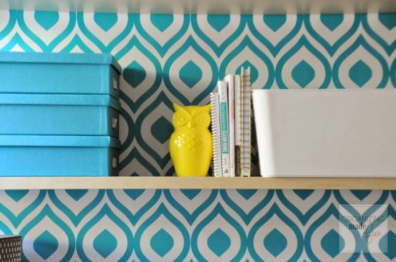 Pops of yellow add to the home office open shelving :: OrganizingMadeFun.com