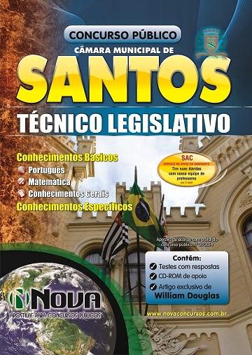 Apostila Impressa Câmara Municipal de Santos para Técnico Legislativo