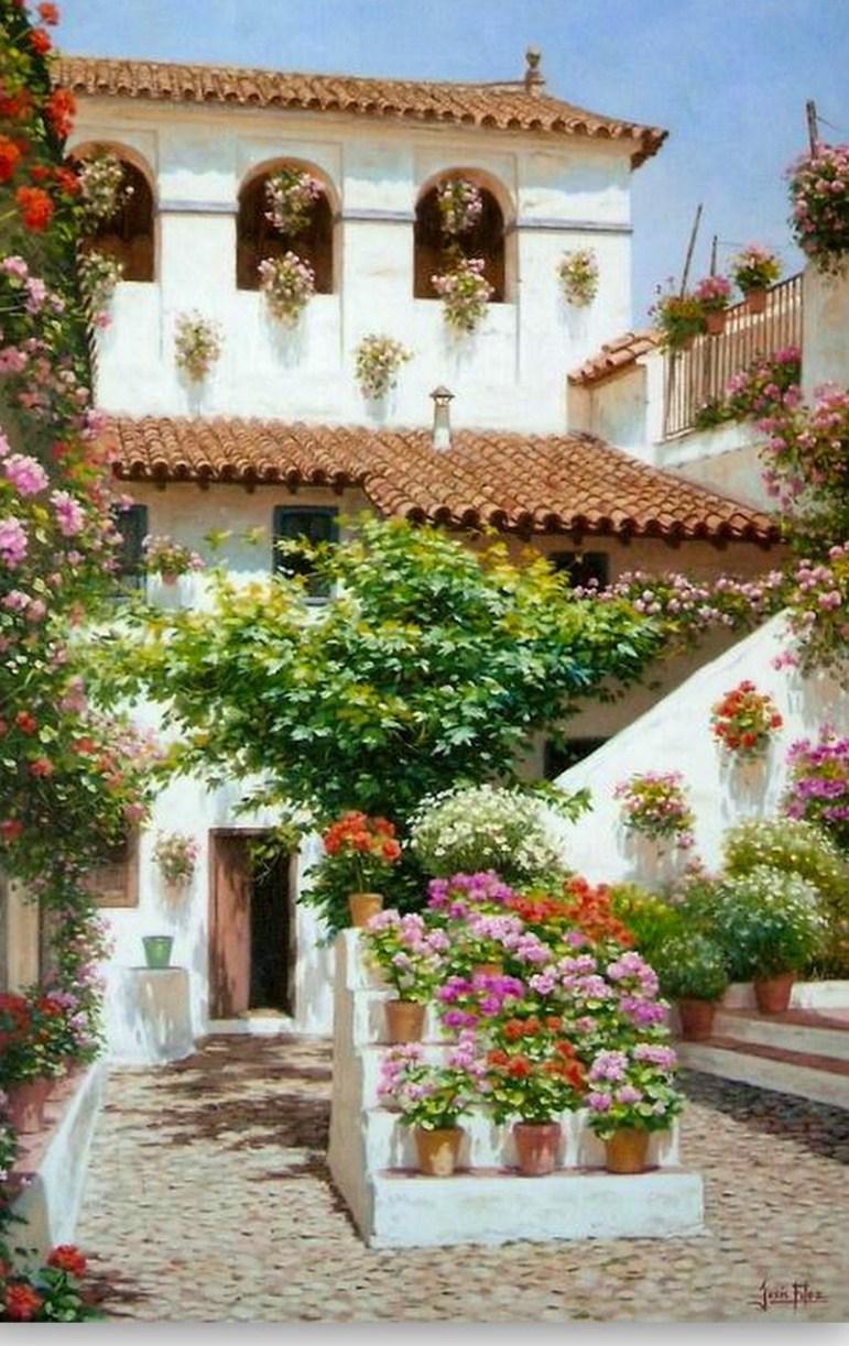 Cuadros modernos pinturas y dibujos cuadros florales al leo for Casas jardin del mar