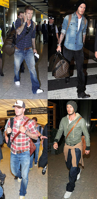 David Beckham airport fashion