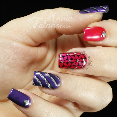 Purple Pink Black and Silver Nail Art Gel Polish Manicure