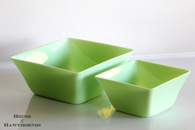 Fire King Jadeite square bowls found at a barn sale