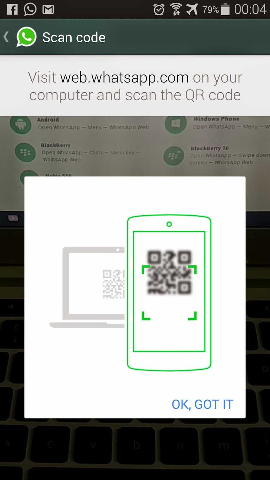 QR code reader per associare vostro account con il client web