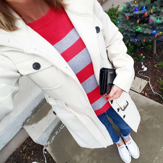 Banana Republic Factory Sweater (I couldn't find something similar except for the colors, but I love this one and it's 40% off!) // Esprit Coat (similar - 50% off!) // 7 For All Mankind Jeans // Converse Tennis Shoes // Kenneth Cole Reaction Clutch (this year's version - 50% off!)