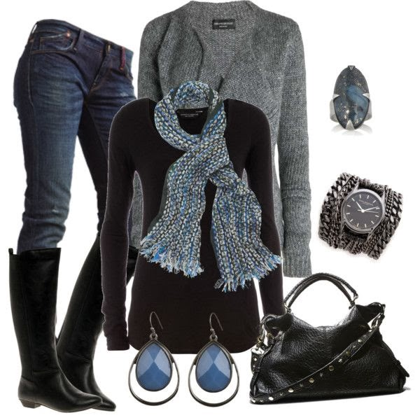 Fashion winter combination - black sweater , grey woolen jacket,blue jeans,black boots,black leather bag  and scarf