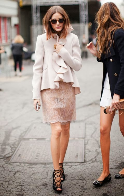 Lace skirt, high heels, jacket and sunglasses combination for fall