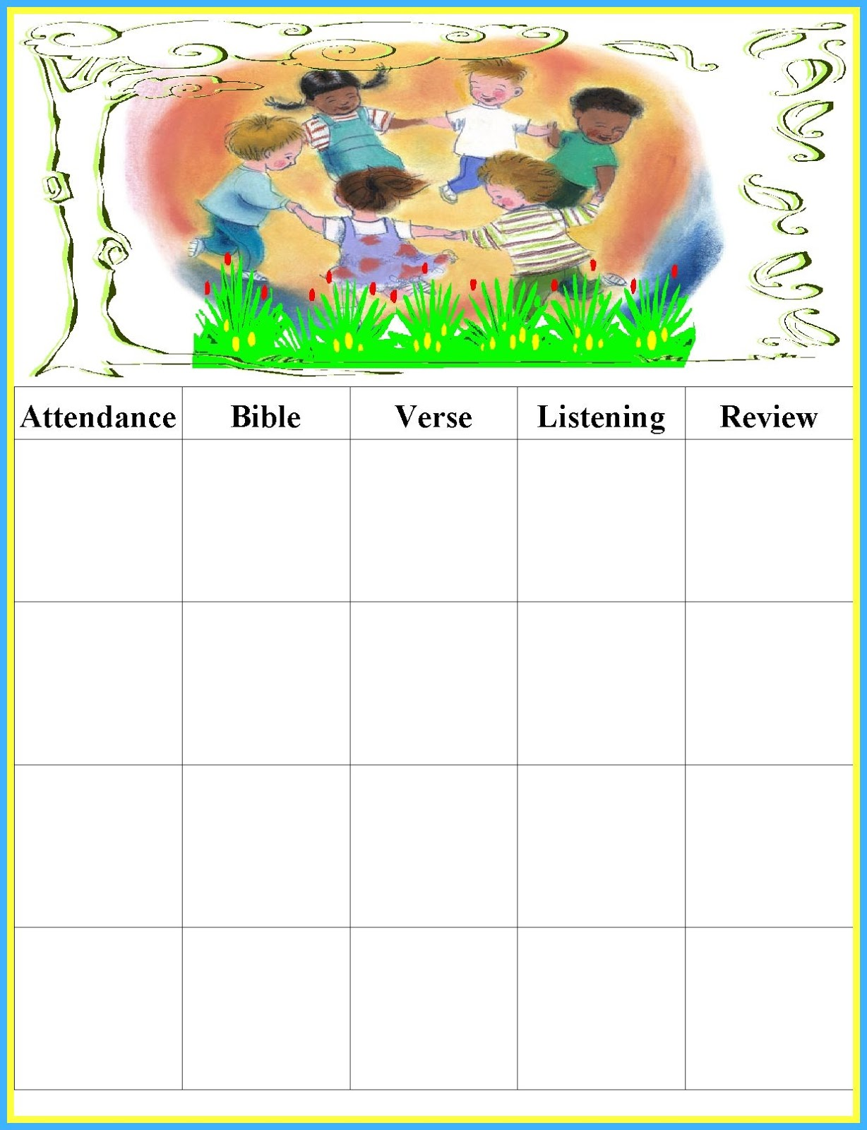 Printable Attendance Charts Bible School Pictures to Pin on – Printable Attendance Chart