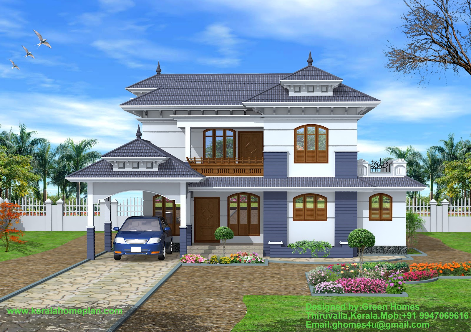 Green homes construction beautiful 4 bhk kerala style for 4 bhk house plans kerala