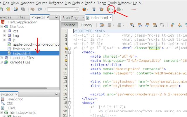 Tampilan proyek aplikasi HTML5 di NetBeans IDE 8.0