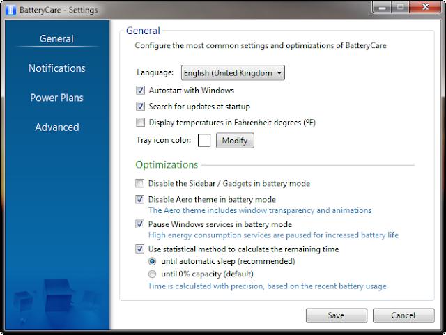برنامج مفيد للحاسبات المحمولة للحفاظ علي وإطالة عمر البطاربة مجاني BatteryCare-0.9.15