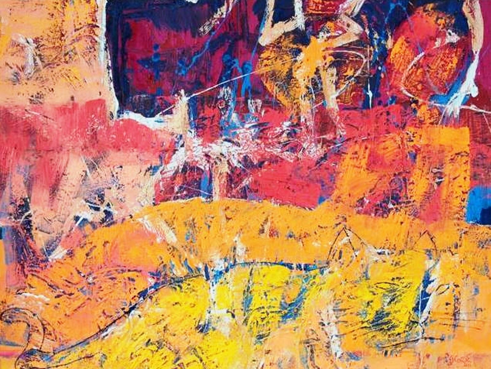 Cuadros pinturas oleos arte moderno abstracto leo - Pintura cuadros modernos ...