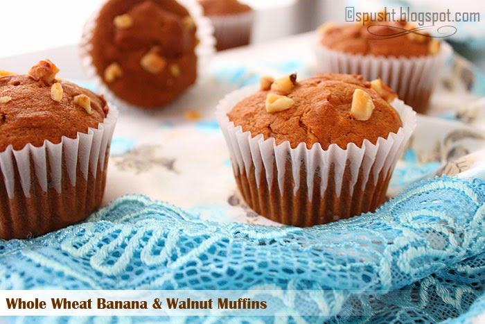 Spusht | Whole Wheat Banana Walnut Muffins | Eggless Baking