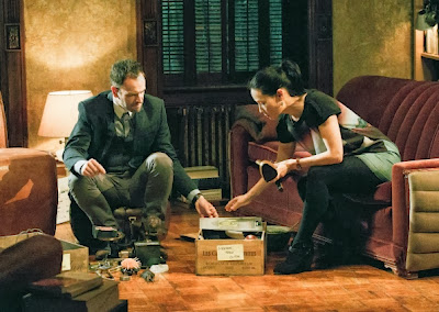 Jonny Lee Miller and Lucy Liu as Sherlock Holmes and Joan Watson in NY brownstone in CBS Elementary Season 2 Episode 10 Tremors