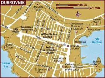 Mapa de lugares turisticos de Dubrovnik