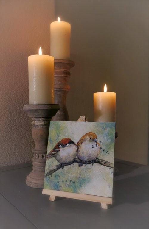 Schilderij mussen, kunstcadeautje Atelier for Hope Doetinchem