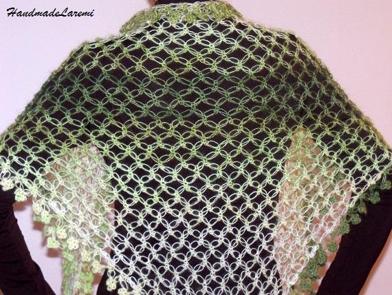 Crochet Shawl : green+crochet+shawl,+crochet+scarf,+triangular+shawl,+lace+green+shawl ...