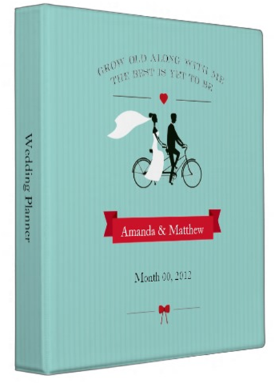 http://www.zazzle.com/tandem_bicycle_aqua_wedding_planner_binder-127236893419670336?rf=238845468403532898