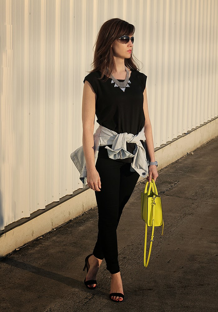 neon yellow, rebecca minkof, j brand denim, denim jacket, style over 40 style