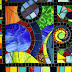 Abstract mural glass art.