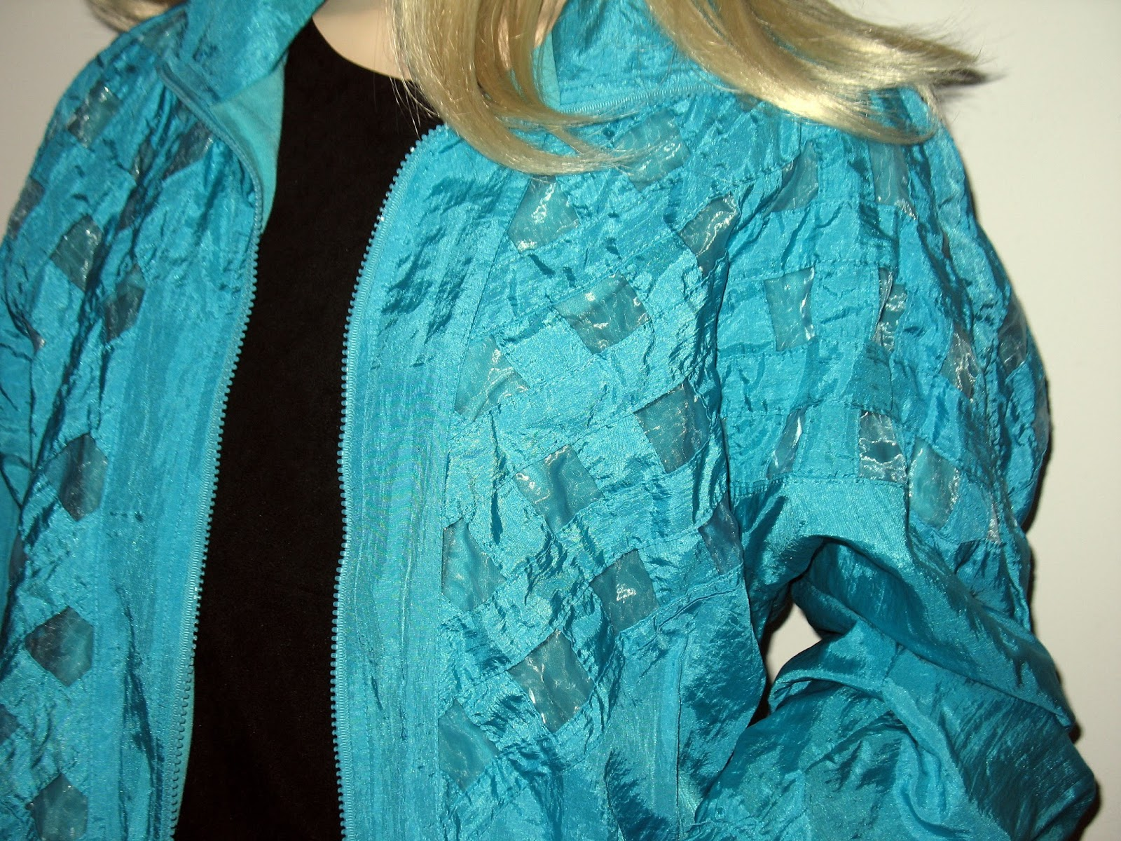 1980s punk new wave jacket turquoise blue metallic iridescent