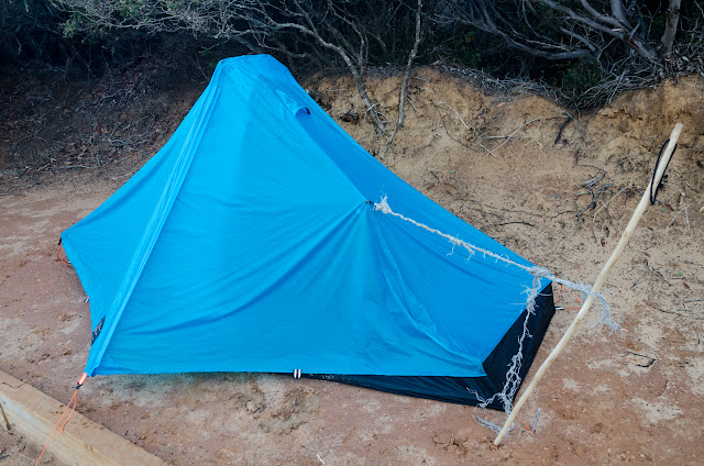 lightheart solong 6 tent with rope repair at one end