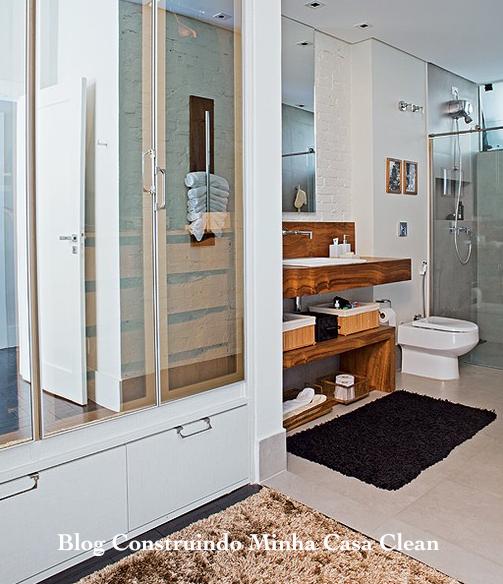 Tour Pelo Quarto Banheiro E Closet ~ Construindo Minha Casa Clean Banheiros para Casais!!! Veja Dicas para