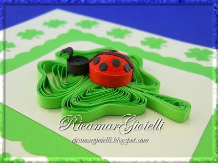 Quilling card con quadrifoglio e coccinella in 3D