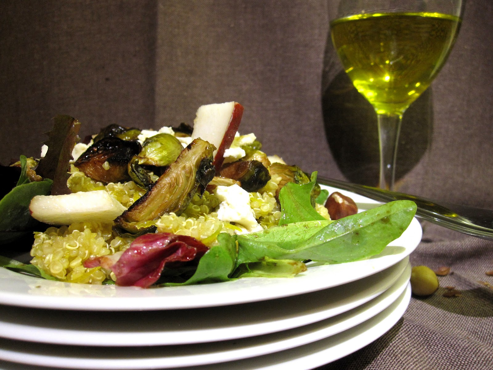 ... with balsamic brussel sprouts, golden beets, hazelnuts and gorgonzola