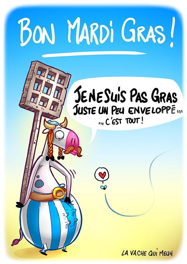 caricature d'obelix - la vache qui meuh est déguisée pour mardi gras en obelix