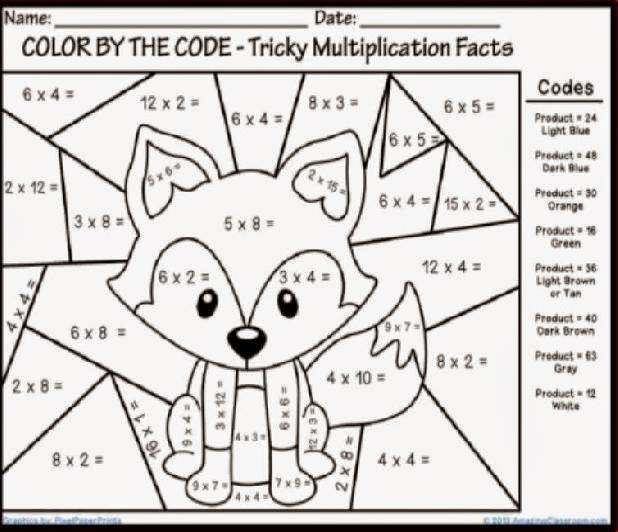Coloring Math Sheets – October Math Worksheets