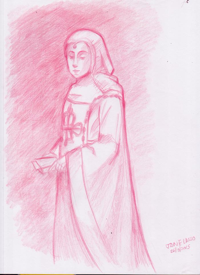 Dibujo con lápiz rojo