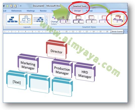 Gambar: Cara mengganti bentuk gaya tampilan atau style struktur organisasi di  Smart Art  Microsoft Word 2007