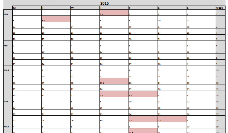 Excel examples for your work, sports and more.: Year calendar and ...