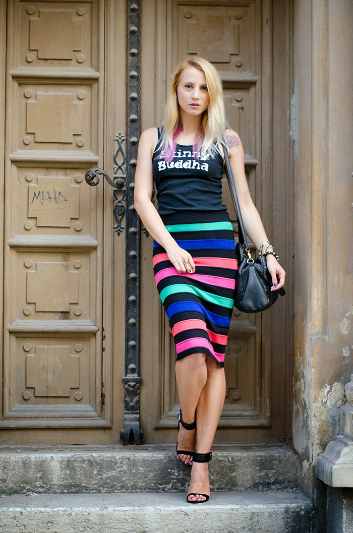 skinny buddha t-shirt striped rainbow skirt