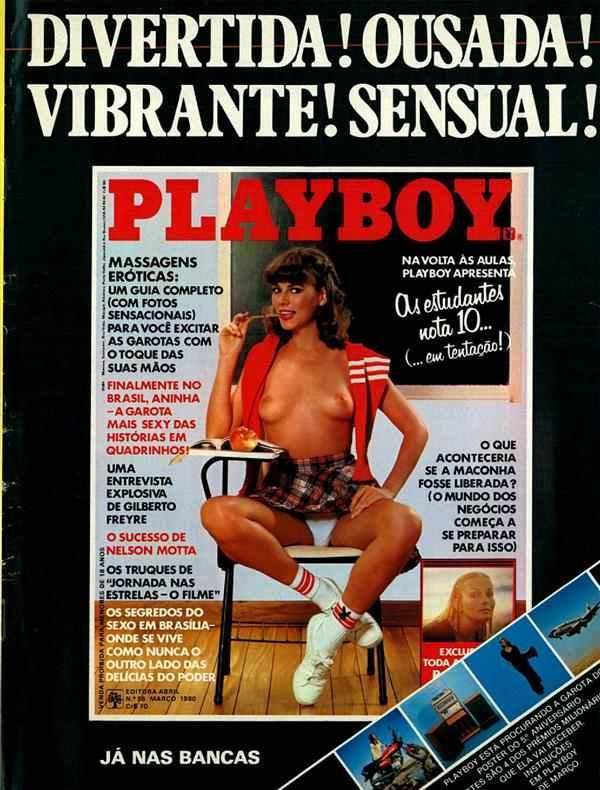 Propaganda da Revista Playboy veiculada em março dos anos 80 com uma garota semi-nua.