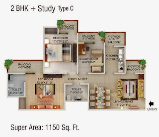 Cape Town :: Floor Plans,2 BHK + Study Type C Super Area - 1150 Sq Ft