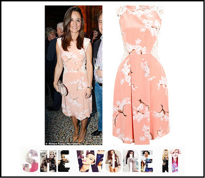 Cherry Blossom Print, Dress, Floral Print, Lace, Pastel, Peach, Pink, Pippa Middleton, Tabitha Webb, Tailored, White,
