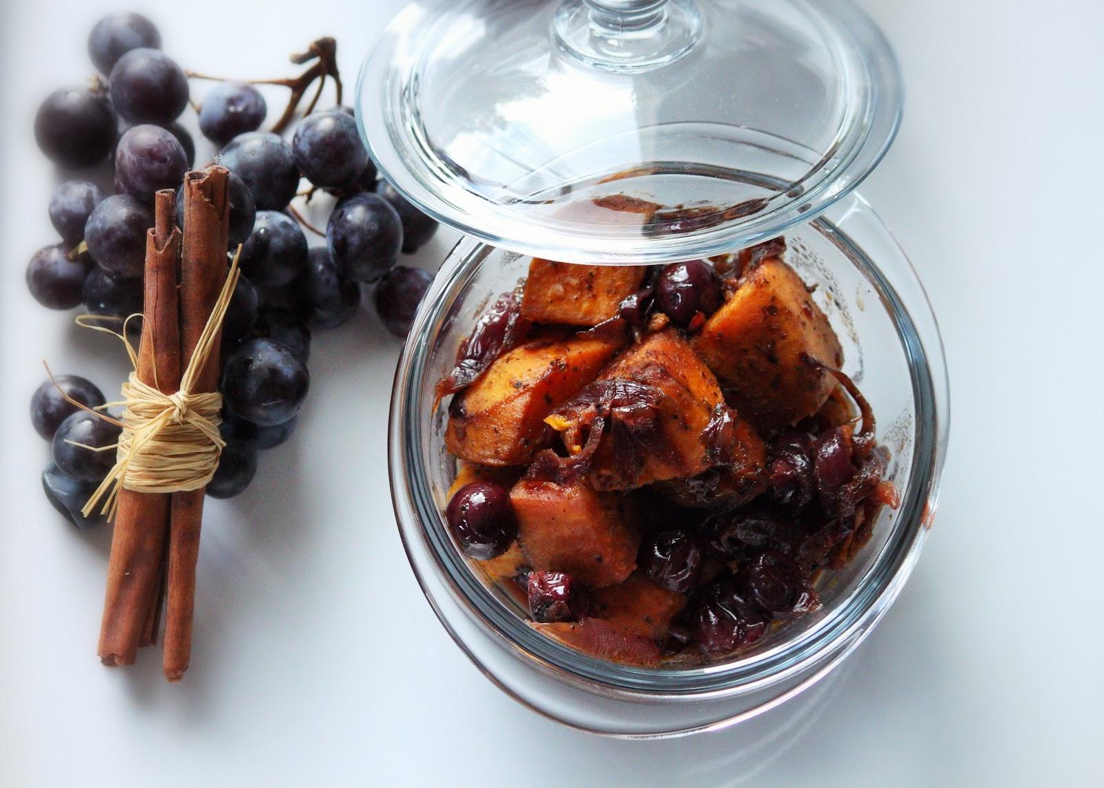 Tajine de patates douces et raisins noirs sof vous - Plat a tajine pour induction ...