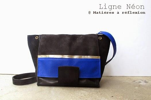 sac Matieres a reflexion mini-neon bleu/noir