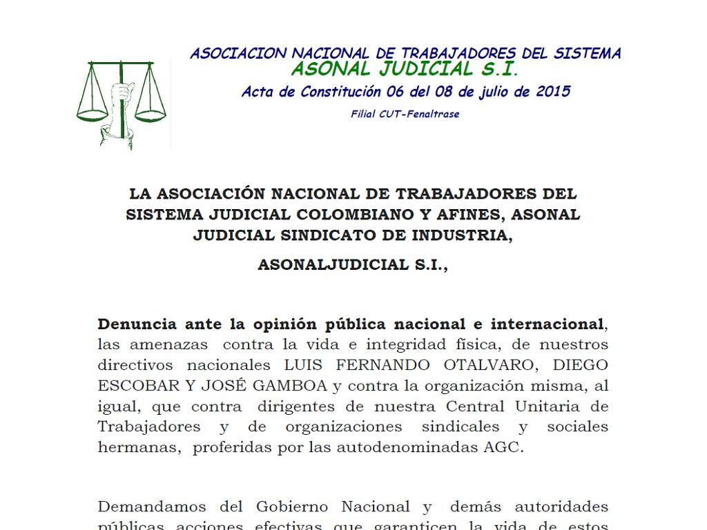 ASONAL JUDICIAL S.I. denuncia amenazas contra la vida de nuestros directivos nacionales