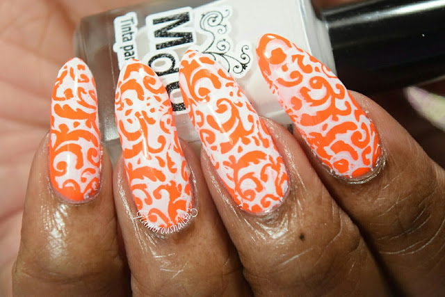 Stamping Over Neon Using Mundo De Unas White Stamping Polish