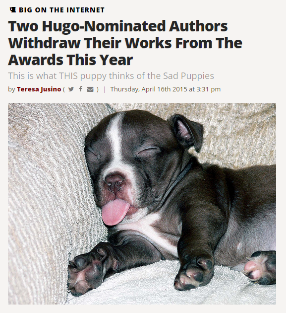 """Two Hugo-Nominated Authors..."" article with picture of a sleepy puppy with its tongue stuck out"