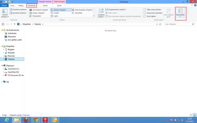 Windows 8 de gizli dosyaları gösterme/gizleme(Resimli Anlatım)