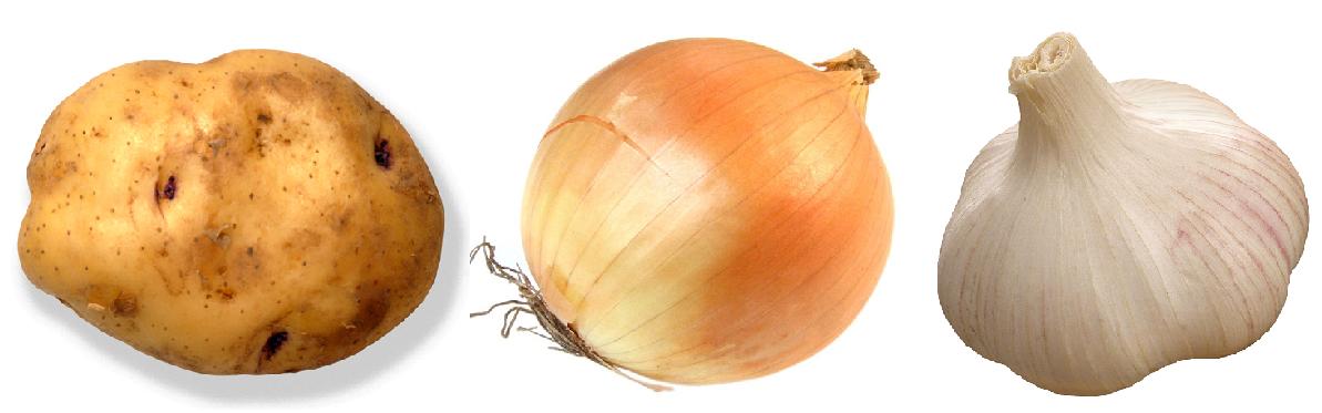 Картофелина, лук, чеснок