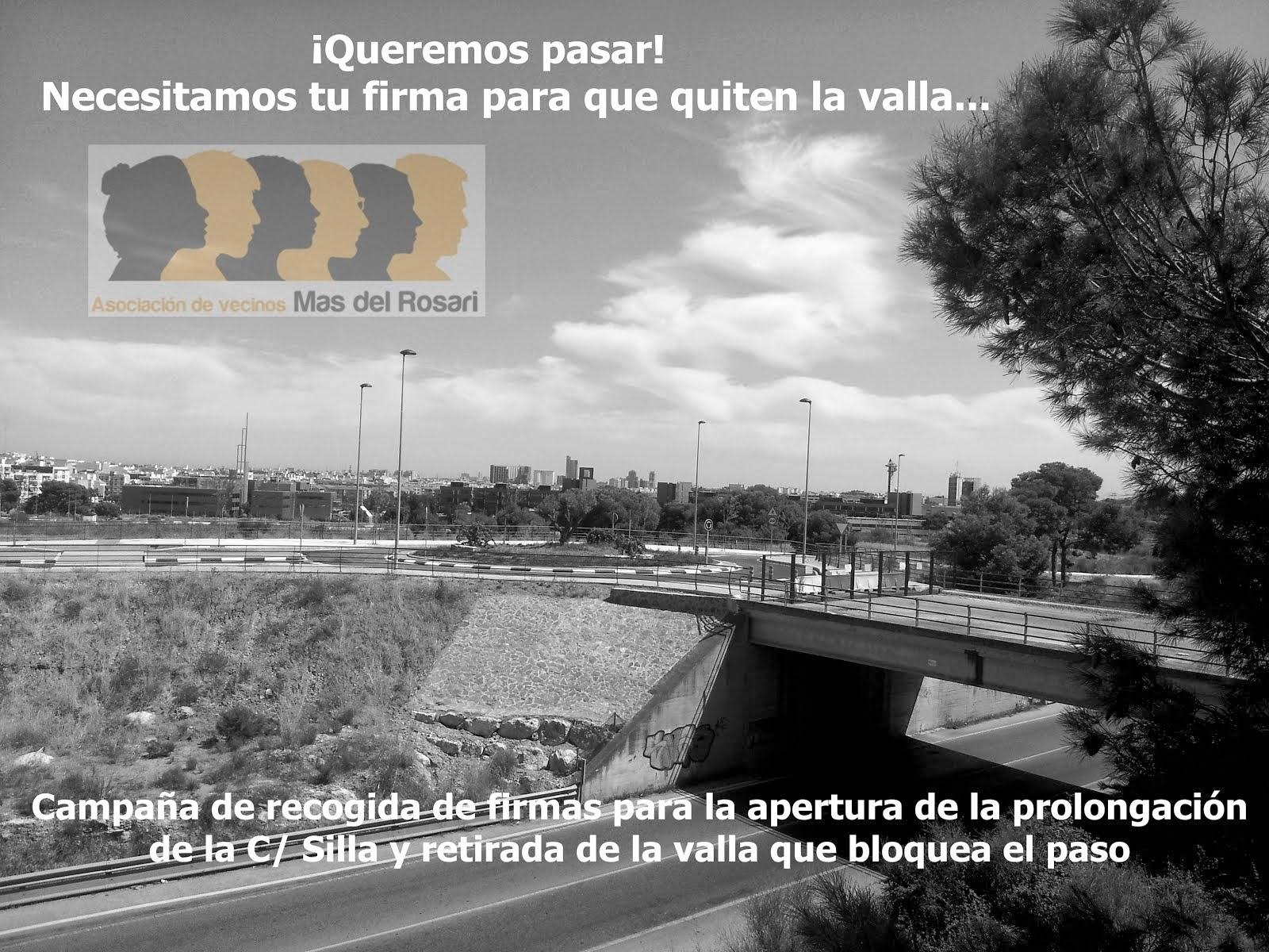 Recogida de firmas apertura puente c/ Silla