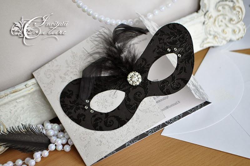 Black White Silver Masquerade Invitations (Invitatii ...