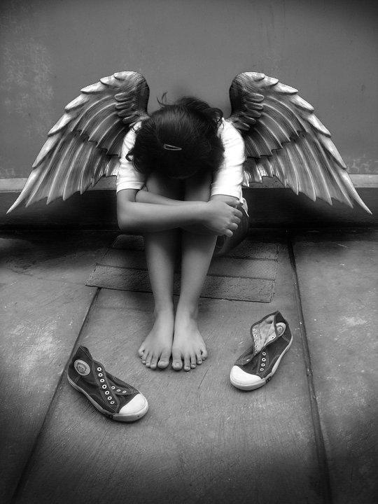 buồn đôi cánh thiên thần tưởng tượng tác phẩm nghệ thuật vải lụa áp phích
