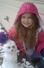 Savannah and her snowman, Easter Week at Nannie's House