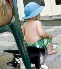 Funny baby kid sitting on pet cat Pictures to Download