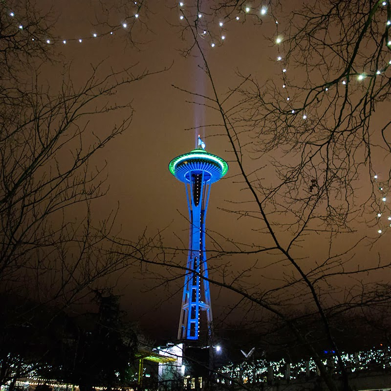 Blue and Green Space Needle